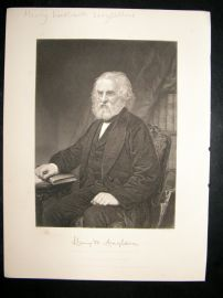 Henry Wadsworth Longfellow 1873 Antique Portrait Print